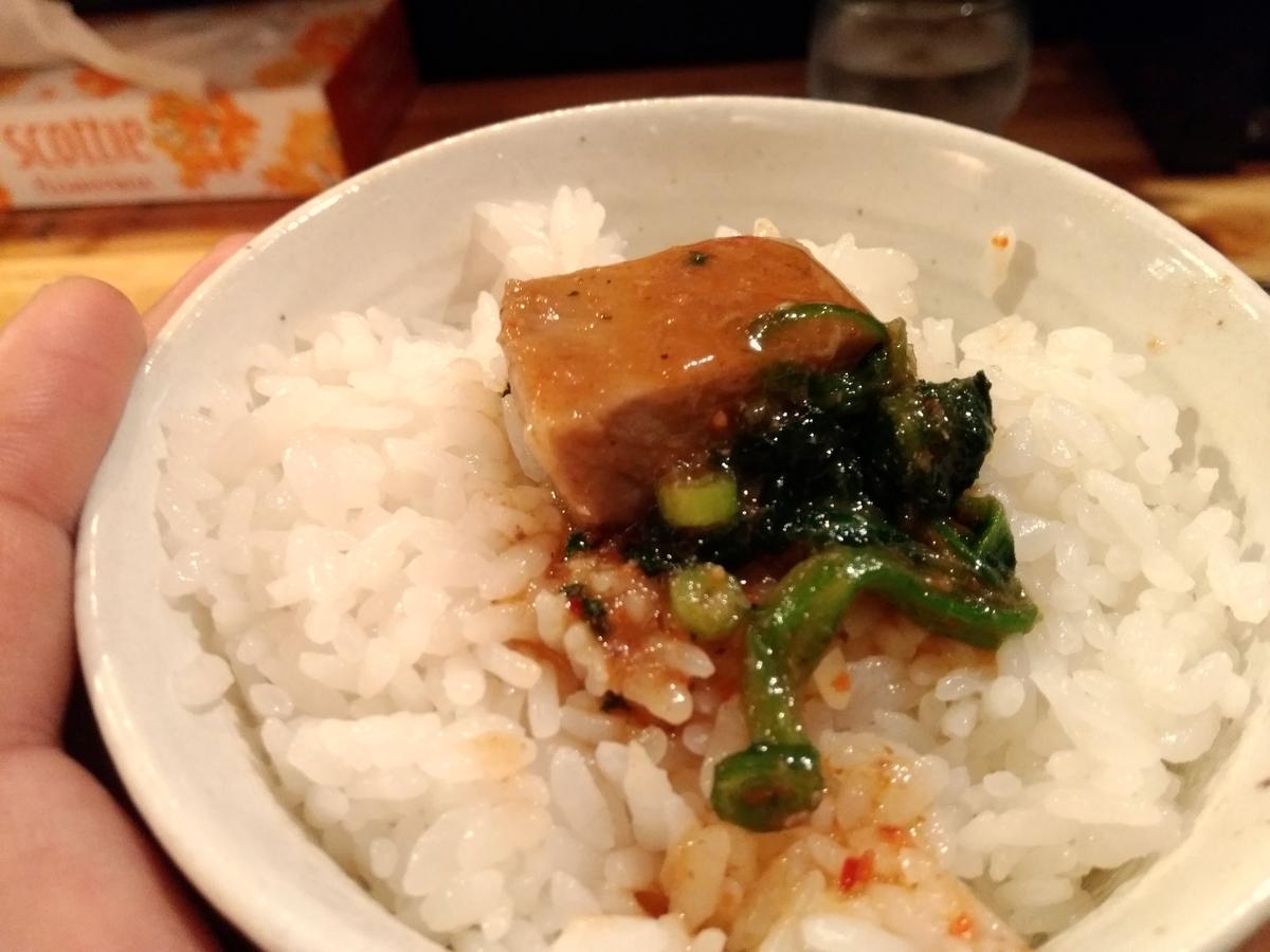 『麺場 神徳』:辛つけ麺ライスオン