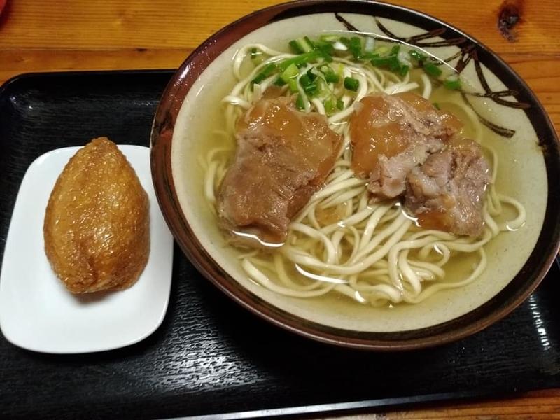 田舎 安謝店:ソーキそば大&いなり寿司