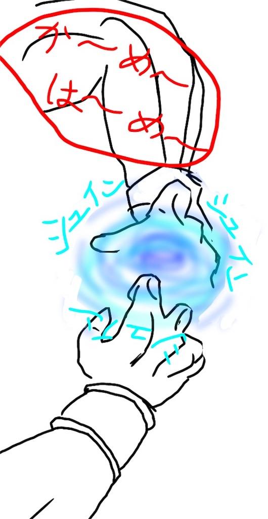 かめはめ波の手の形のイラスト