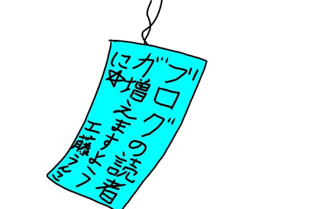 短冊に書かれた自分の願い事、(ブログの読者が増えますように)