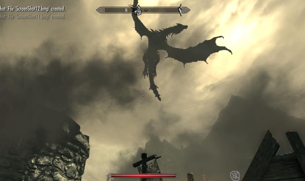 スカイリム ヘルゲン上空を舞うドラゴン