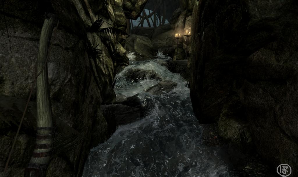 スカイリム  ブリークフォール墓地の洞窟を流れる川