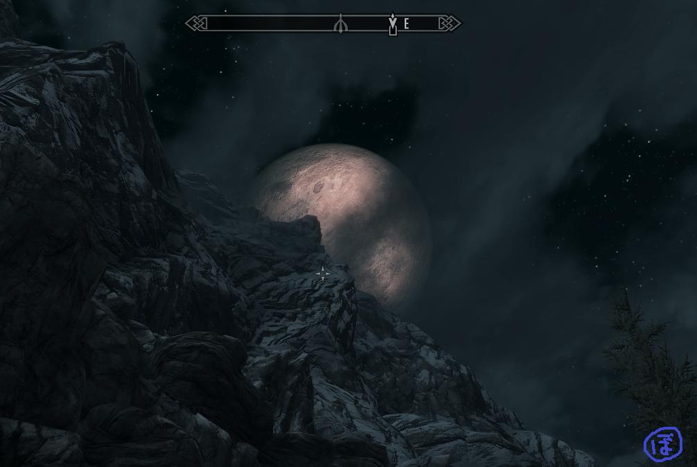 スカイリム ブリークフォール墓地の出口から見る月