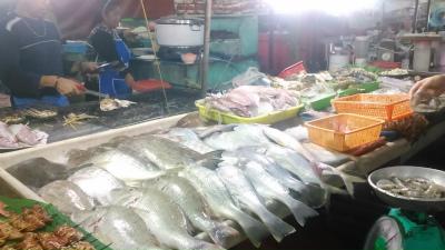 コタキナバルの屋台に並ぶご魚介類