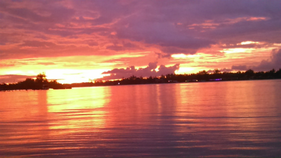 コタキナバルでカヤックと夕焼け