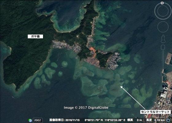 ガヤ島の水上集落