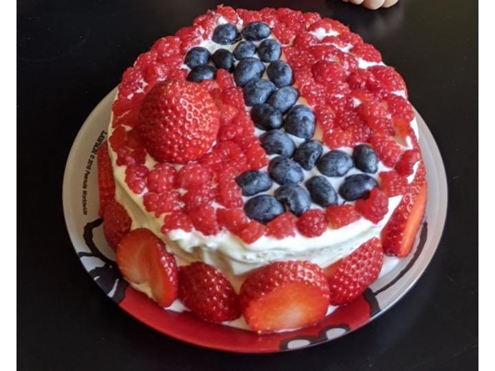 ベリーとヨーグルトクリームを使用した手作りケーキ