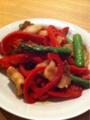 2011/4/23 夕食 豚肉 アスパラ パプリカの炒め物