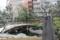 """境内に建つ「泉鏡花筆塚」(碑は墨で、池石は硯?)と""""湯島の白梅"""""""