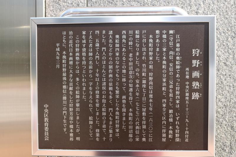 狩野画塾跡の碑文には狩野芳崖の名が...。