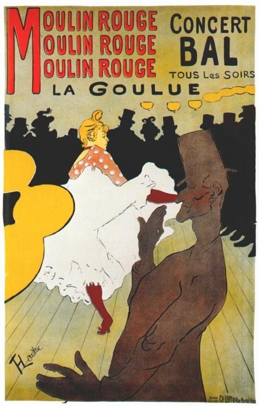 ロートレック作「ムーラン・ルージュのラ・グーリュ」(1891年)