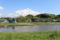 新宮城跡(現在は田に整地されたが前方は湖、後方は山に挟まれた要衝)