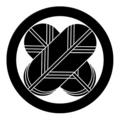 菊地氏の家紋「丸に違い鷹の羽紋」