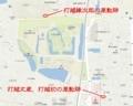 現代の大和郡山城の地図と打越氏の屋敷跡