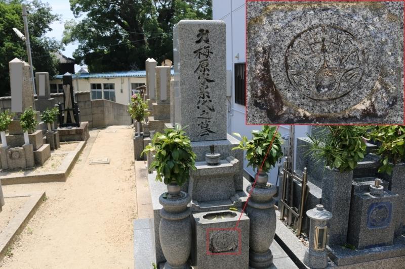 正久寺の梅原氏の墓(丸に抱き茗荷紋は茨城県に分布する梅原氏)