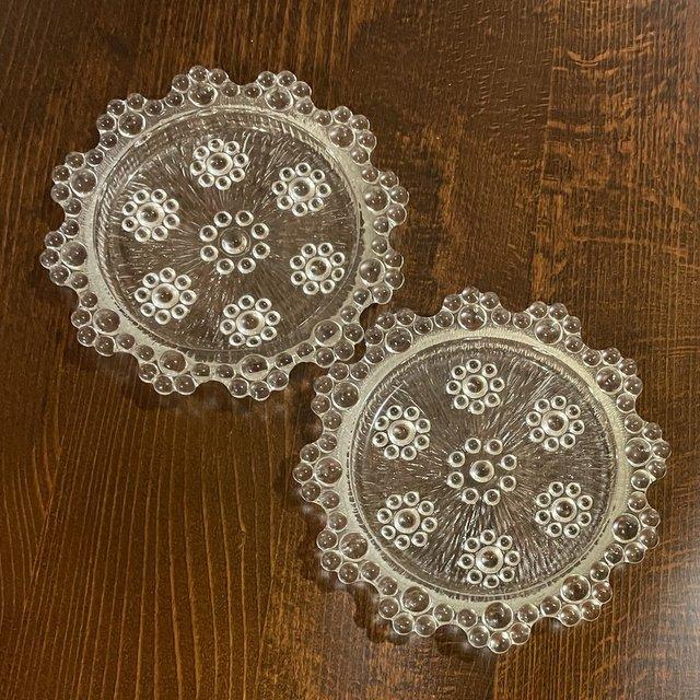 昭和レトロなプレスガラスのコースター 小皿 アデリア ピコットの画像