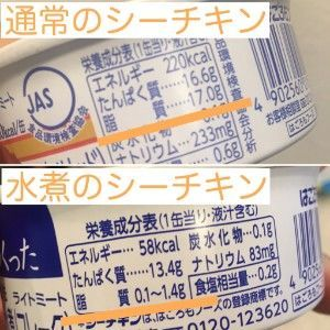 通常のシーチキンと水煮のシーチキンの脂質比較