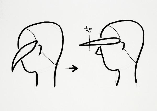 髪を2等分にし前に引っぱって切る