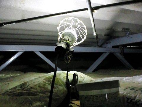 こうもり撃退のため屋根裏にライトを設置