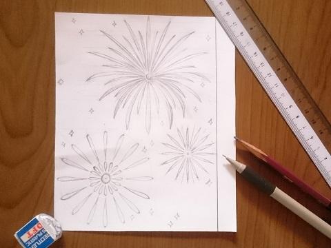 花火の万華鏡の下絵