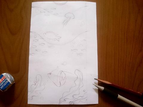 海の万華鏡の下絵
