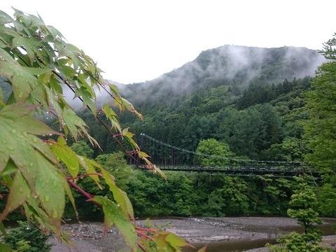 「湯西川水の郷」の大吊り橋
