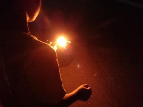 花火を持つ甥
