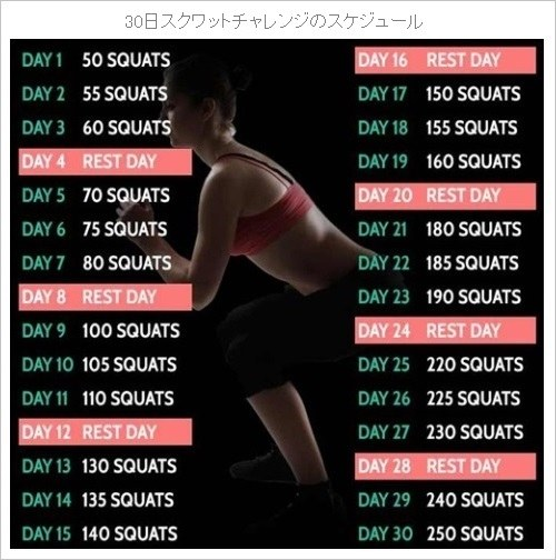 30日スクワットチャレンジのスケジュール
