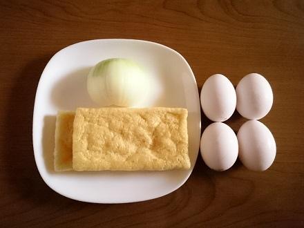 材料の卵・油あげ・玉ねぎ