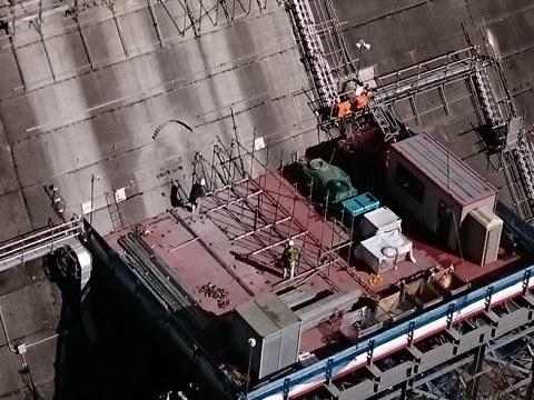 2017年11月上旬の五十里ダムに穴を開ける作業