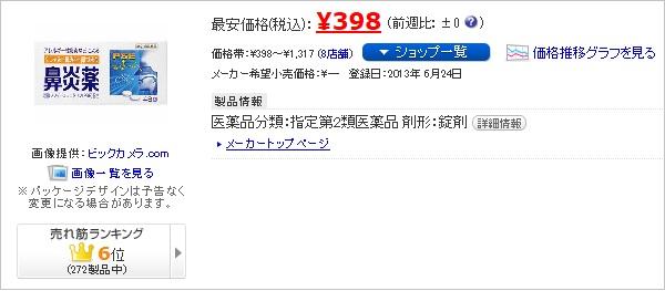 価格.comで見る鼻炎薬A「クニヒロ」