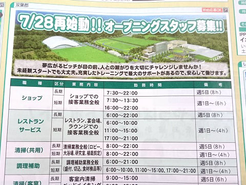 Jヴィレッジの求人広告(2018年5月福島県いわき市)