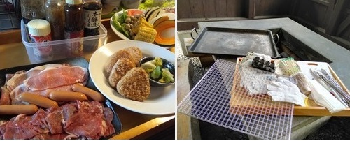 男鹿の湯で用意していただけるバーベキューの食材と道具