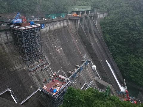 工事中の五十里ダム
