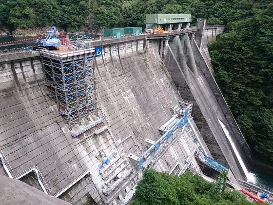 工事中の五十里ダム 2018年7月