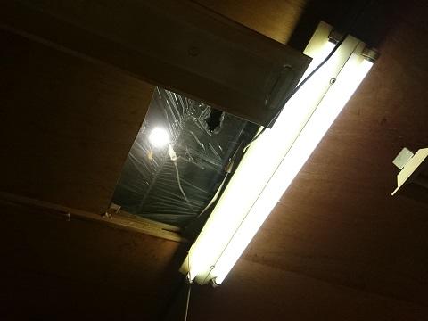 LEDライトで明るくなった作業部屋の屋根裏