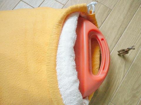 タオル地を縫いつけた袋