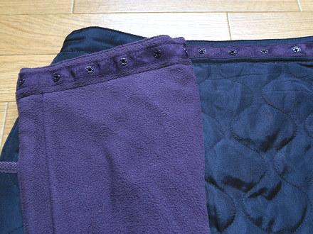 キルティング巻きスカートのウエストスナップボタン