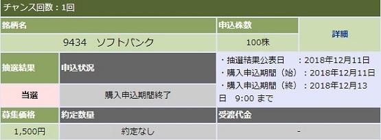 大和証券でソフトバンクIPOに100株当選