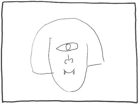 夫のブーさんが描いた一つ目の私。牙が生える
