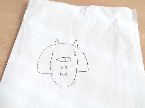 夫のブーさんが描いた一つ目の私。ツノが生えて青筋