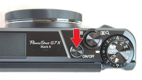 PowerShot G7X MarkIIの上側にある電源ボタン