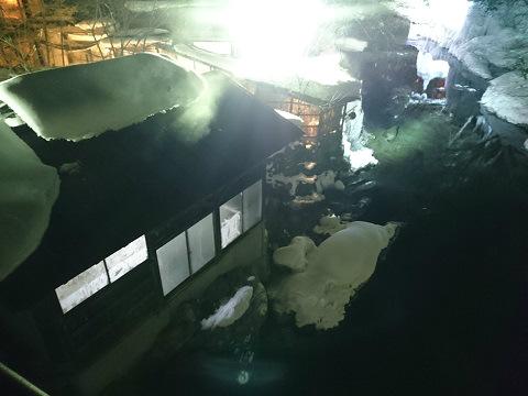 真冬、夜の湯西川温泉 薬師の湯