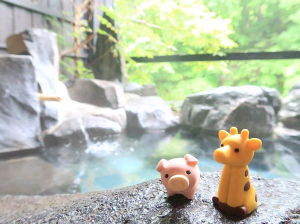 夫のブーさんと私 湯西川温泉 揚羽の貸切露天風呂で