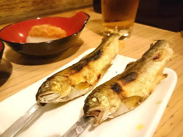 湯西川温泉 揚羽の夕食 川魚の串焼き