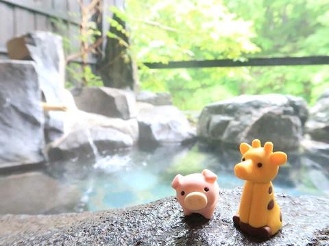 湯西川温泉 揚羽 貸切露天風呂 ブーさんとキリン