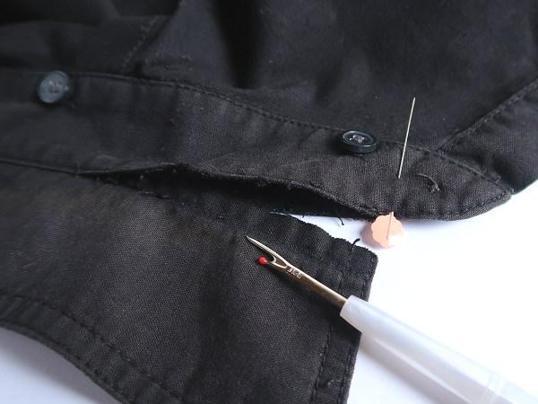 シャツ 襟の裏返し修理