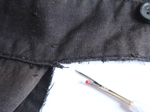 リッパーで襟をはずす シャツ襟の裏返し修理