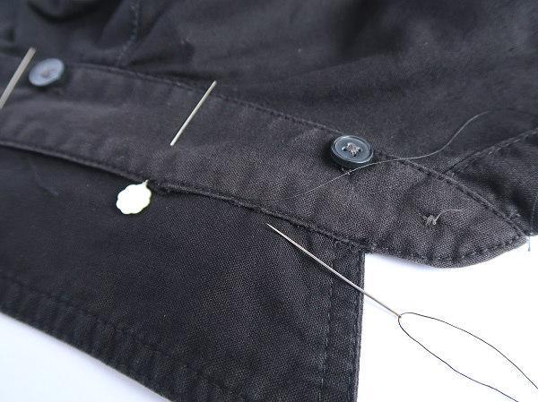 手縫いで襟をつけ直す シャツ襟の裏返し修理