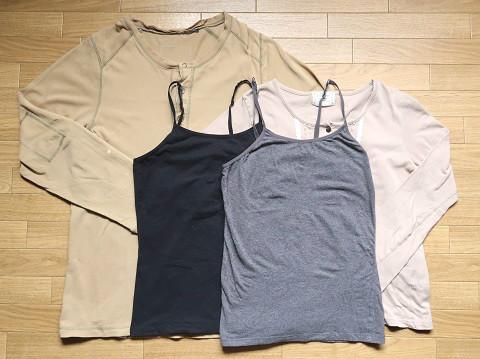 着古したTシャツとキャミソール